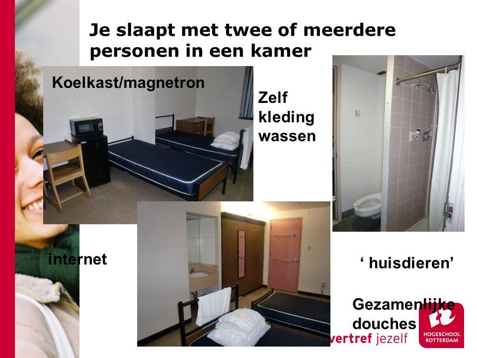 Je slaapt met twee of meerdere personen in een kamer Zelf kleding wassen ' huisdieren' Gezamenlijke douches internet Koelkast/magnetron