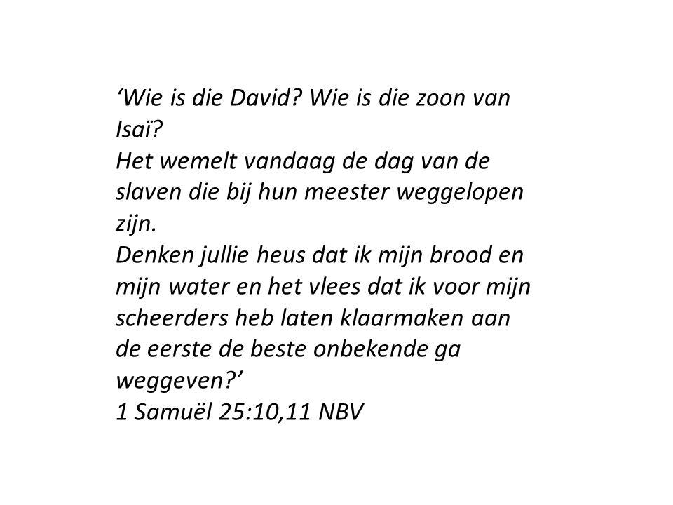'Wie is die David? Wie is die zoon van Isaï? Het wemelt vandaag de dag van de slaven die bij hun meester weggelopen zijn. Denken jullie heus dat ik mi