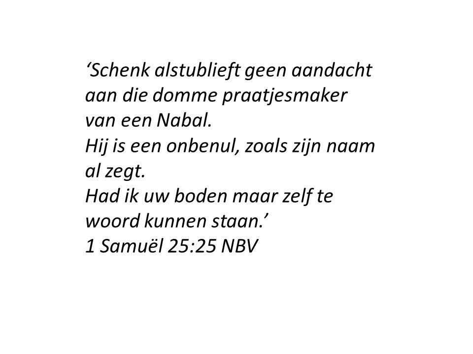 'Schenk alstublieft geen aandacht aan die domme praatjesmaker van een Nabal. Hij is een onbenul, zoals zijn naam al zegt. Had ik uw boden maar zelf te