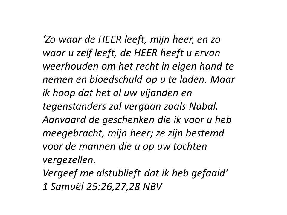 'Zo waar de HEER leeft, mijn heer, en zo waar u zelf leeft, de HEER heeft u ervan weerhouden om het recht in eigen hand te nemen en bloedschuld op u te laden.