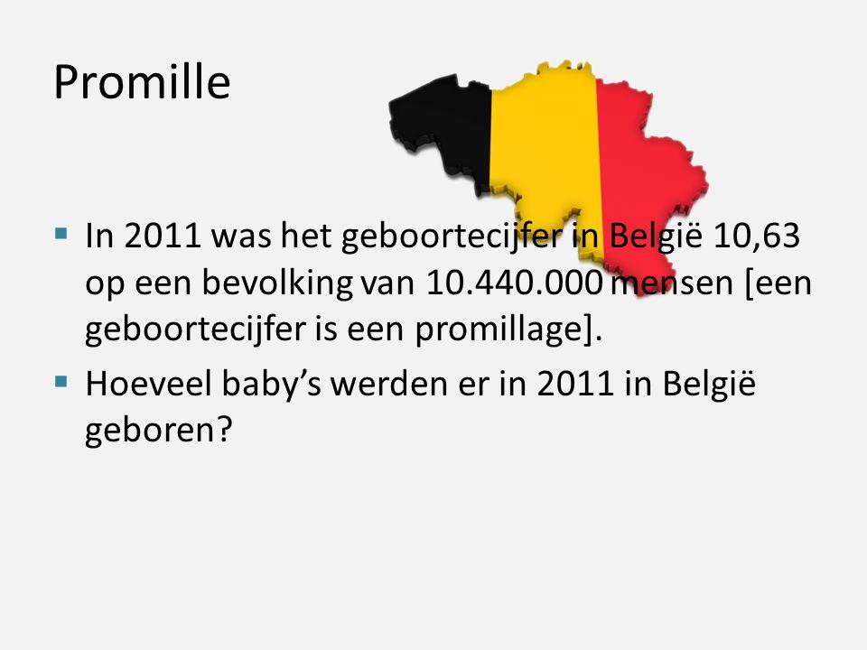 Promille  In 2011 was het geboortecijfer in België 10,63 op een bevolking van 10.440.000 mensen [een geboortecijfer is een promillage].