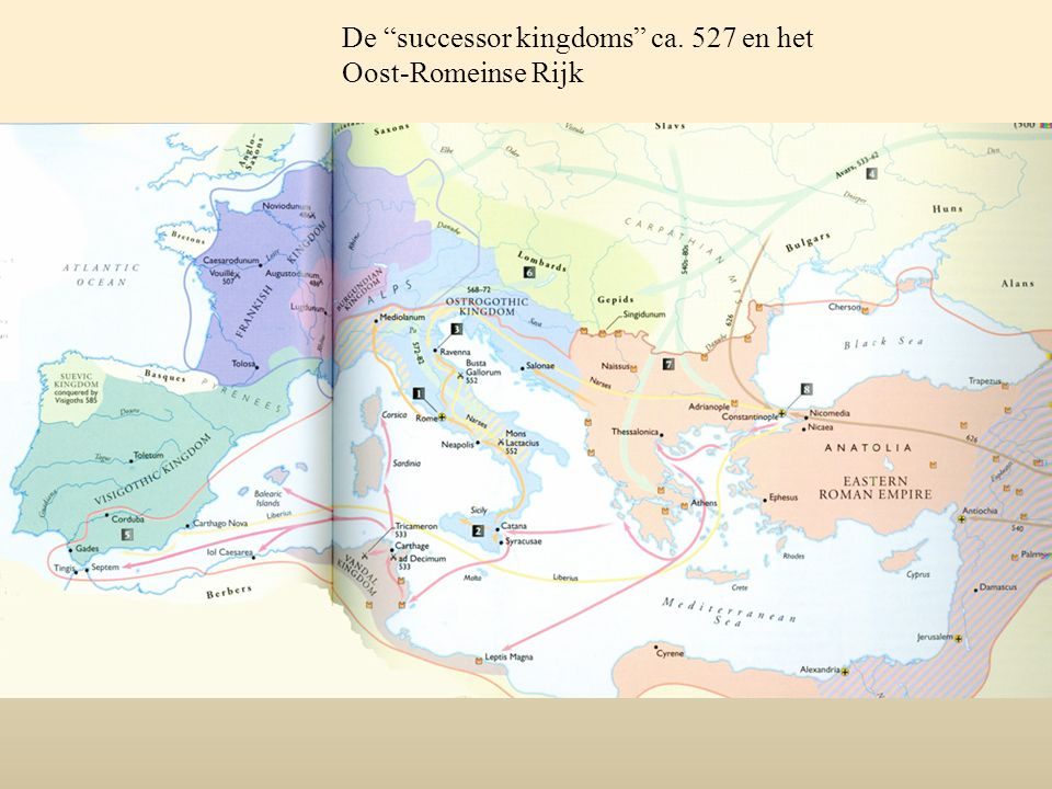Vanaf 527 probeert de Oost-Romeinse keizer Justinianus het rijk weer in één hand te verenigen