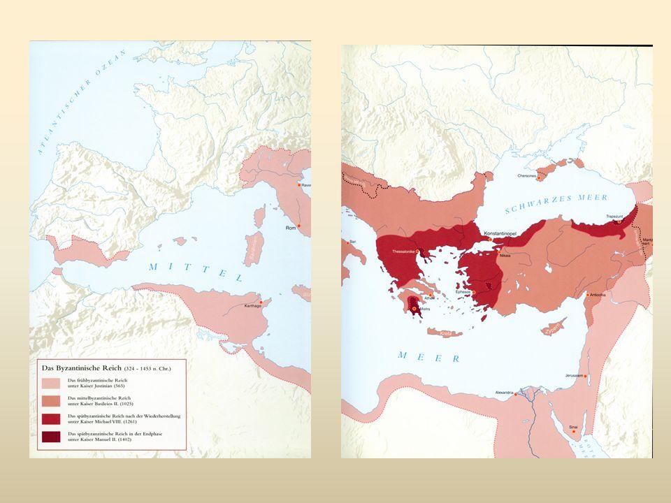 Enkele jaartallen: 337 dood Constantijn de Grote 353 Constantius II verenigt het gehele rijk in een hand 361 Julianus de Afvallige 364 Valentinianus en zijn broer Valens delen het rijk 378 Hadrianopolis: de grote nederlaag tegen de Goten; Valens sneuvelt 379 TheodosiusI : reconstructie van het rijk Edict cunctos populos: christendom staatsgodsdienst 383 Theodosius is alleenheerser rijk 395 Arcadius en Honorius delen het rijk 408 in het oosten Theodosius II De muren van Constantinopel Codex Theodosianus 451 overwinning op Atilla 468 keizer Leo versus de Vandalen: mislukking 474 Zeno Oostromeins keizer; vanaf 476 de enige Romeinse keizer (pas 800 is er opnieuw een keizer in het westen  Karel de Grote) 488 Ostrogoten in Italië onder Theoderik 527-565 Justinianus Corpus Iuris Civilis Kerkbouw en docoratie in Cosntantinopel (Hagia Sophia!) en in heroverd Ravenna Crisis 568 Longobarden in Italië; Perzische (Sassanidische) aanvallen 610-640 Herakleios 627 overwinning op de perzen 636 Jarmuk (Jordaan): Arabische overwinning op de Byzantijnse legers 641-668 Constans II ( hoofdstad tijdelijk Syracuse; Constantijn IV keert terug naar Cosntantinopel) hardnekkig verzet tegen Arabieren: 717 Laatste grote Arabische aanval  Het Romeinse rijk (= Byzantijnse rijk = de oostelijke helft van het Romeinse rijk van voor 476) bestaat voort