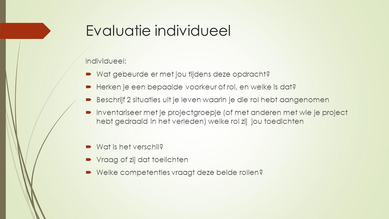 Evaluatie individueel Individueel:  Wat gebeurde er met jou tijdens deze opdracht?  Herken je een bepaalde voorkeur of rol, en welke is dat?  Besch