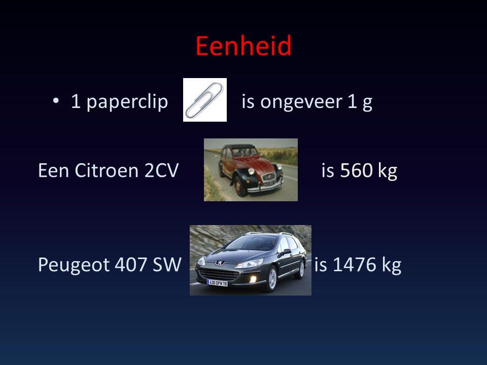 Eenheid 1 paperclip is ongeveer 1 g Een Citroen 2CV is 560 kg Peugeot 407 SW is 1476 kg