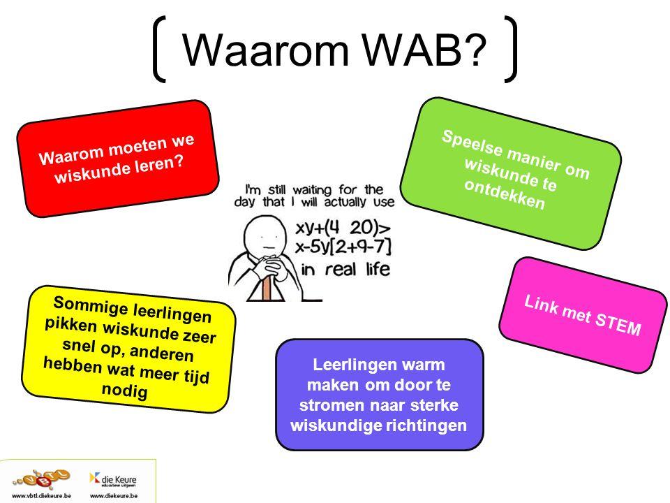 Waarom WAB? Waarom moeten we wiskunde leren? Speelse manier om wiskunde te ontdekken Sommige leerlingen pikken wiskunde zeer snel op, anderen hebben w
