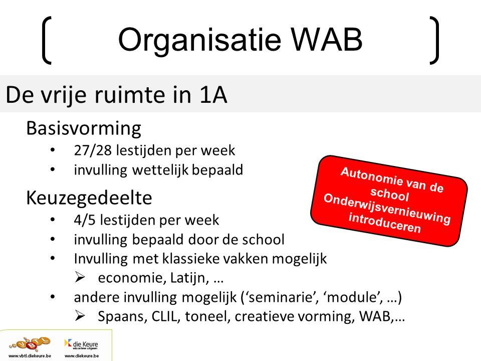 Organisatie WAB De vrije ruimte in 1A Basisvorming 27/28 lestijden per week invulling wettelijk bepaald Keuzegedeelte 4/5 lestijden per week invulling