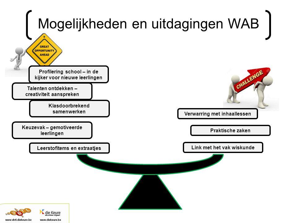 Mogelijkheden en uitdagingen WAB Leerstofitems en extraatjes Klasdoorbrekend samenwerken Profilering school – in de kijker voor nieuwe leerlingen Link