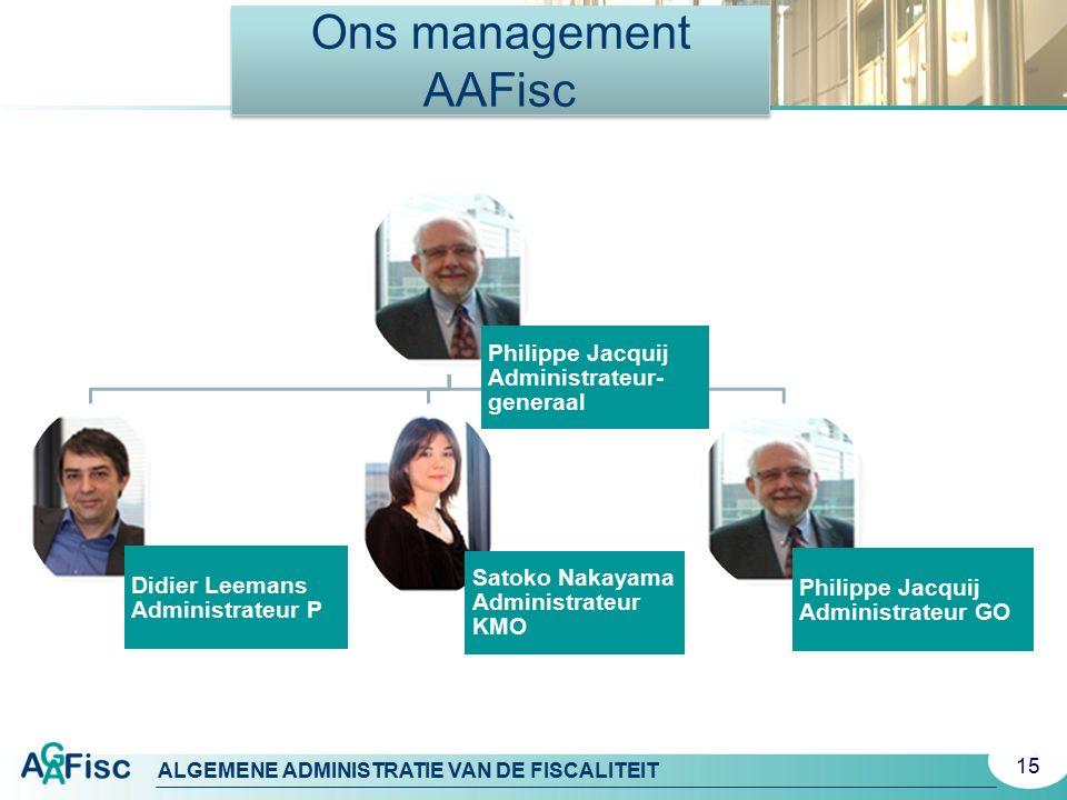 ALGEMENE ADMINISTRATIE VAN DE FISCALITEIT Ons management AAFisc Philippe Jacquij Administrateur- generaal Didier Leemans Administrateur P Satoko Nakay