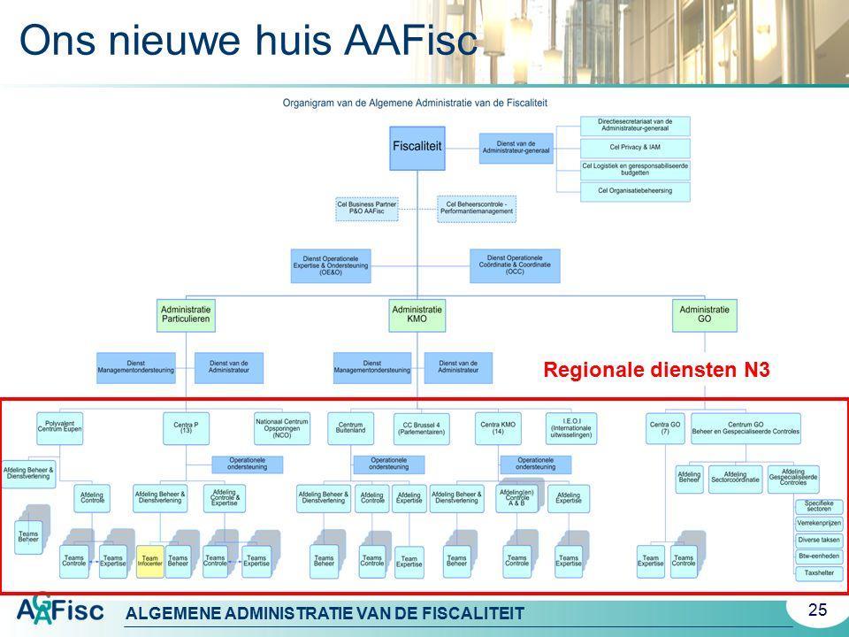 ALGEMENE ADMINISTRATIE VAN DE FISCALITEIT Ons nieuwe huis AAFisc 25 Regionale diensten N3