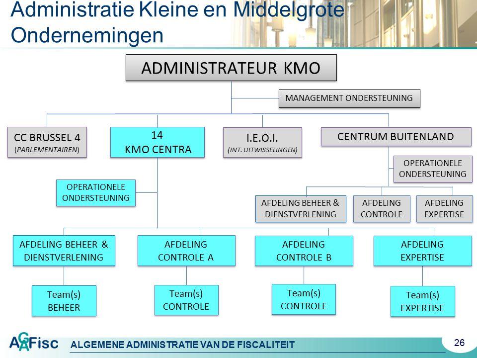 ALGEMENE ADMINISTRATIE VAN DE FISCALITEIT 26 Administratie Kleine en Middelgrote Ondernemingen ADMINISTRATEUR KMO MANAGEMENT ONDERSTEUNING 14 KMO CENT
