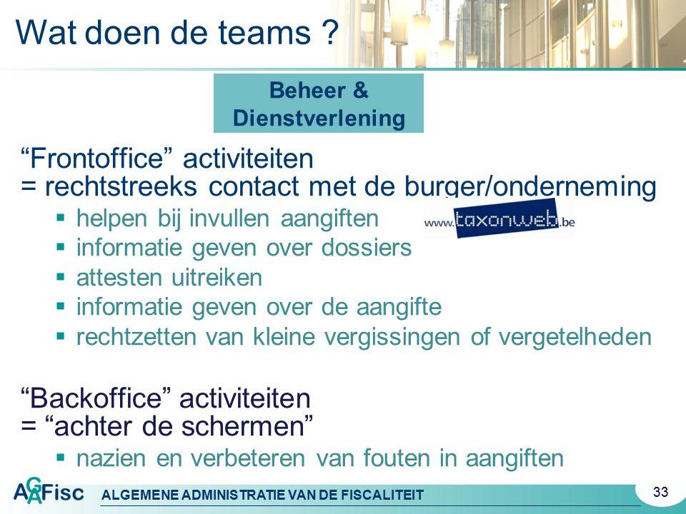 """ALGEMENE ADMINISTRATIE VAN DE FISCALITEIT """"Frontoffice"""" activiteiten = rechtstreeks contact met de burger/onderneming  helpen bij invullen aangiften"""