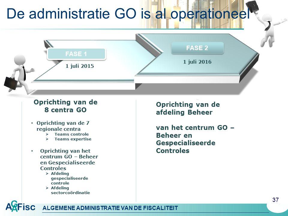 ALGEMENE ADMINISTRATIE VAN DE FISCALITEIT De administratie GO is al operationeel 37 1 juli 2016 Oprichting van de 8 centra GO Oprichting van de 7 regi