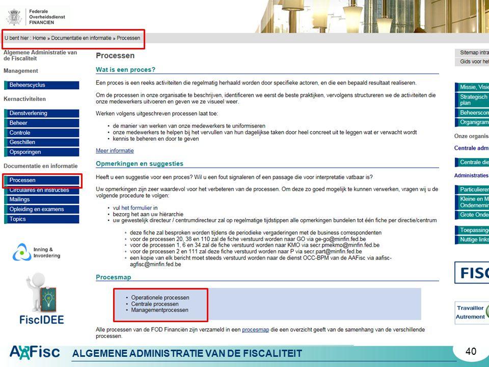 ALGEMENE ADMINISTRATIE VAN DE FISCALITEIT 40