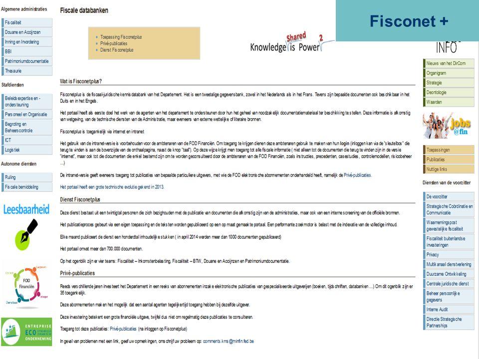 ALGEMENE ADMINISTRATIE VAN DE FISCALITEIT FISCONET+ 50 Fisconet +