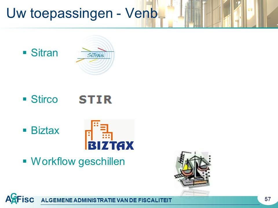 ALGEMENE ADMINISTRATIE VAN DE FISCALITEIT Uw toepassingen - Venb 57  Sitran  Stirco  Biztax  Workflow geschillen