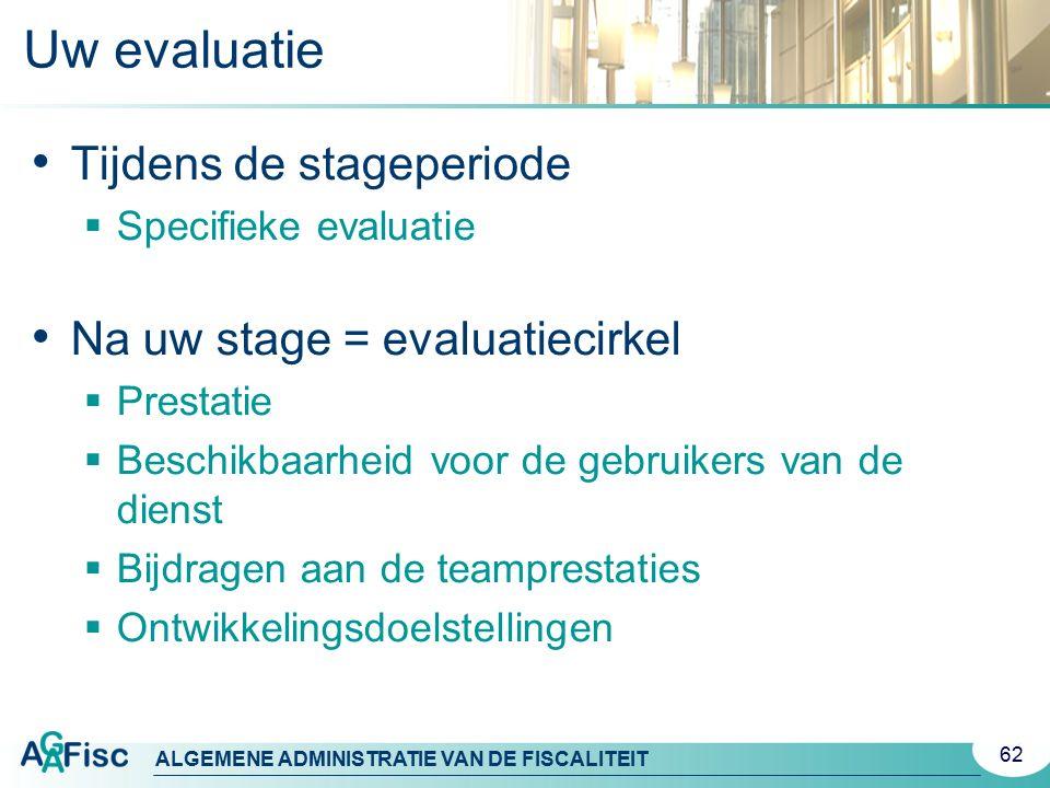 ALGEMENE ADMINISTRATIE VAN DE FISCALITEIT Uw evaluatie Tijdens de stageperiode  Specifieke evaluatie Na uw stage = evaluatiecirkel  Prestatie  Besc