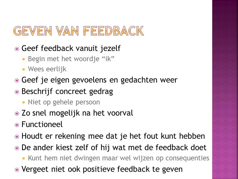 """ Geef feedback vanuit jezelf  Begin met het woordje """"ik""""  Wees eerlijk  Geef je eigen gevoelens en gedachten weer  Beschrijf concreet gedrag  Ni"""