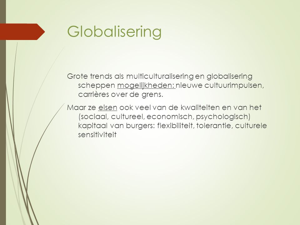 Globalisering Grote trends als multiculturalisering en globalisering scheppen mogelijkheden: nieuwe cultuurimpulsen, carrières over de grens.