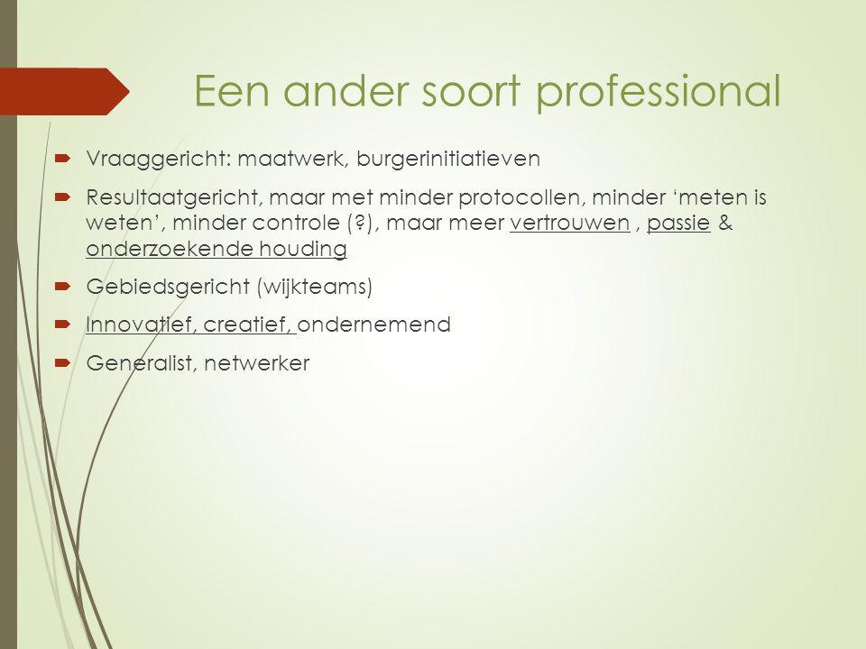 Belang van de vertrouwensrelatie: Vertrouwen in anderen veronderstelt passie, betrokkenheid, solidariteit, 'er zijn', de ander 'zien' http://www.youtube.com/watch?v=vHwLfBsmwk8 http://www.sozio.nl/stel-bijzonder-lectoraat-voor- professionele-passie-in/1025534#.Uwc7bbCYa1s http://www.zorgwelzijn.nl/Welzijnswerk/Nieuws/2014/2/ Andries-Baart-Helpt-de-transitie-mensen-echt- 1458098W/
