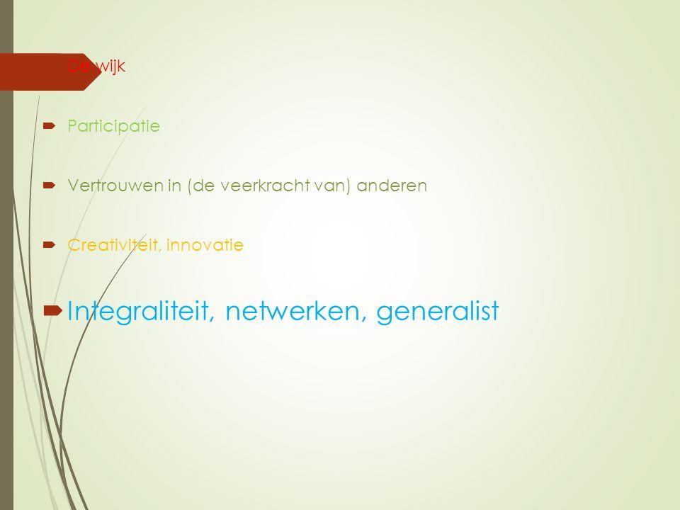  De wijk  Participatie  Vertrouwen in (de veerkracht van) anderen  Creativiteit, innovatie  Integraliteit, netwerken, generalist