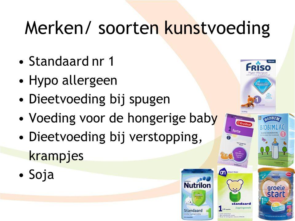 Merken/ soorten kunstvoeding Standaard nr 1 Hypo allergeen Dieetvoeding bij spugen Voeding voor de hongerige baby Dieetvoeding bij verstopping, krampj