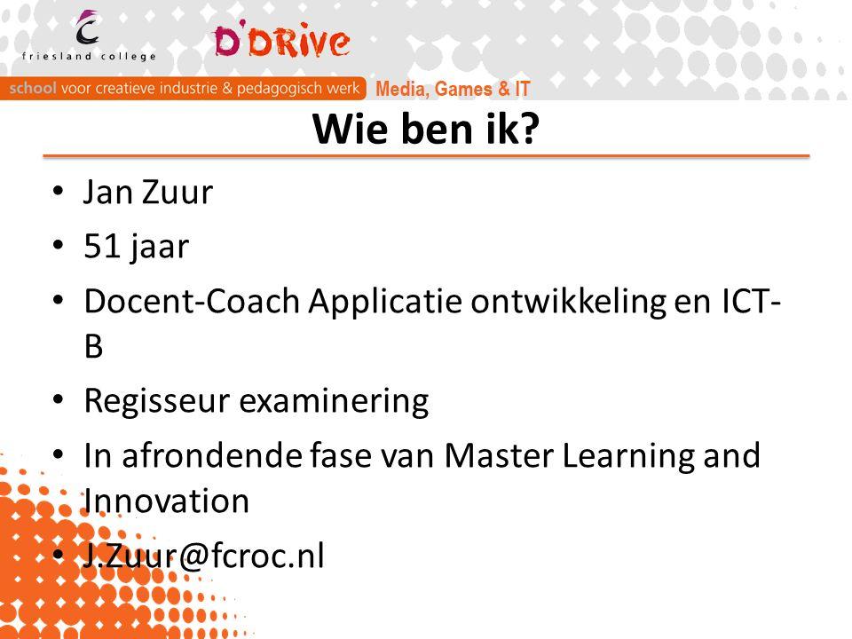 Wie ben ik? Jan Zuur 51 jaar Docent-Coach Applicatie ontwikkeling en ICT- B Regisseur examinering In afrondende fase van Master Learning and Innovatio