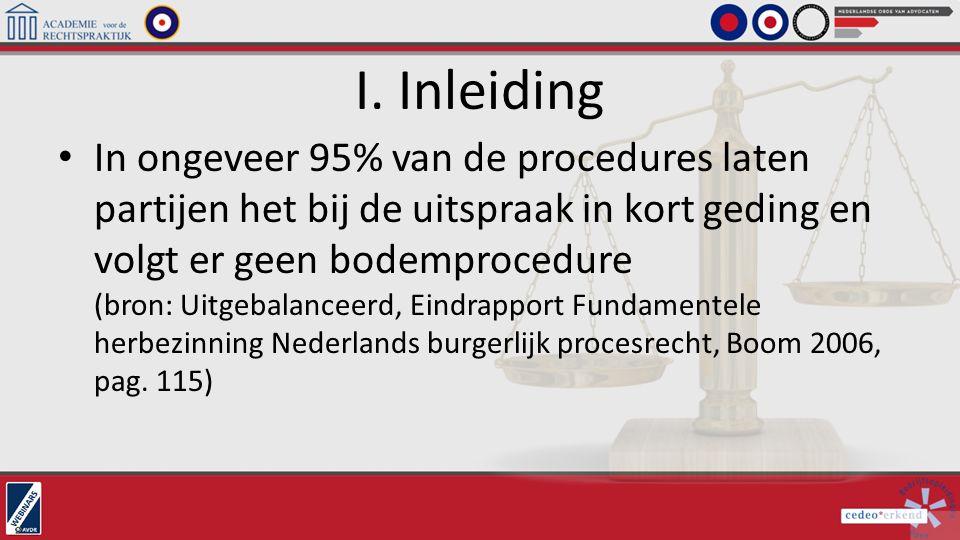 I. Inleiding In ongeveer 95% van de procedures laten partijen het bij de uitspraak in kort geding en volgt er geen bodemprocedure (bron: Uitgebalancee