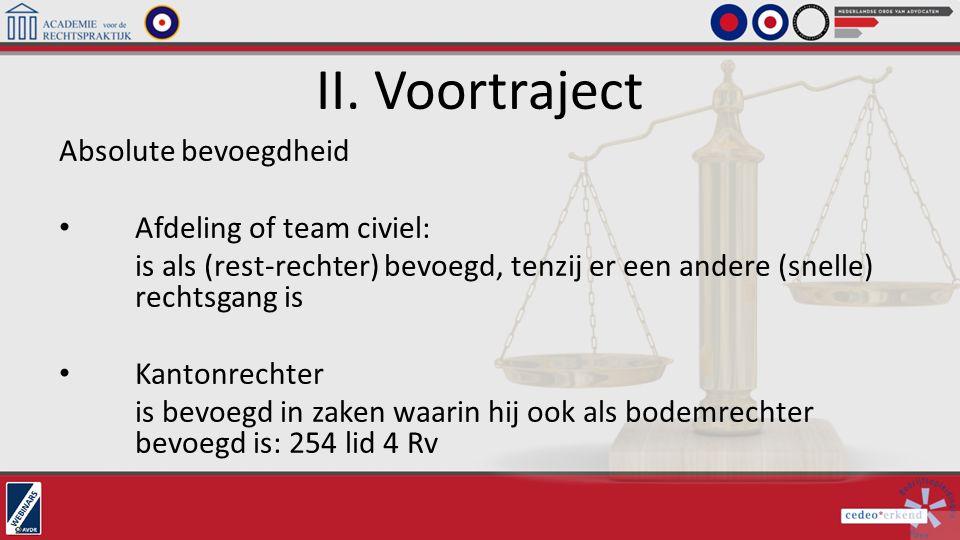 II. Voortraject Absolute bevoegdheid Afdeling of team civiel: is als (rest-rechter) bevoegd, tenzij er een andere (snelle) rechtsgang is Kantonrechter
