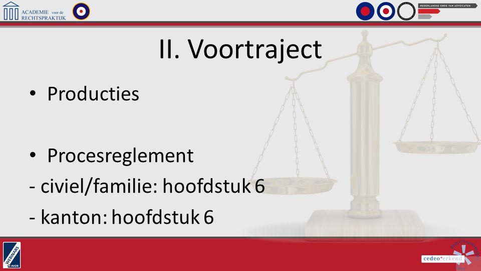 II. Voortraject Producties Procesreglement - civiel/familie: hoofdstuk 6 - kanton: hoofdstuk 6
