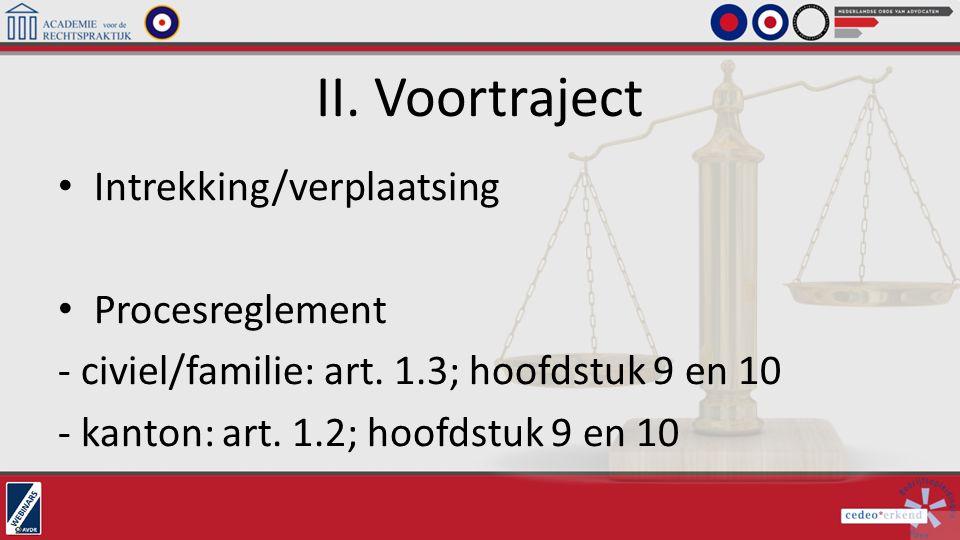 II. Voortraject Intrekking/verplaatsing Procesreglement - civiel/familie: art. 1.3; hoofdstuk 9 en 10 - kanton: art. 1.2; hoofdstuk 9 en 10