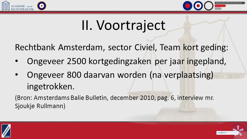 II. Voortraject Rechtbank Amsterdam, sector Civiel, Team kort geding: Ongeveer 2500 kortgedingzaken per jaar ingepland, Ongeveer 800 daarvan worden (n