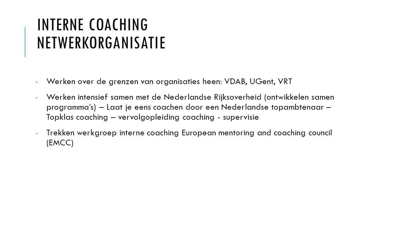 INTERNE COACHING NETWERKORGANISATIE -Werken over de grenzen van organisaties heen: VDAB, UGent, VRT -Werken intensief samen met de Nederlandse Rijksoverheid (ontwikkelen samen programma's) – Laat je eens coachen door een Nederlandse topambtenaar – Topklas coaching – vervolgopleiding coaching - supervisie -Trekken werkgroep interne coaching European mentoring and coaching council (EMCC)