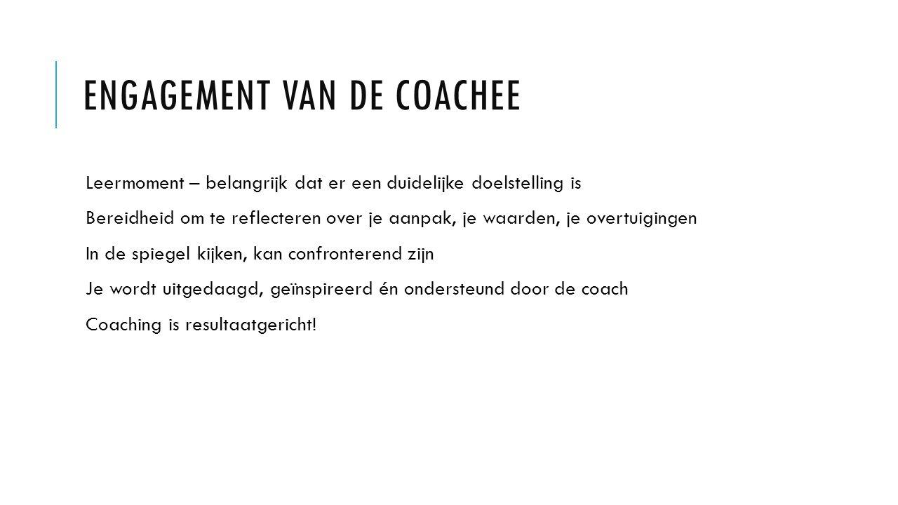 ENGAGEMENT VAN DE COACHEE Leermoment – belangrijk dat er een duidelijke doelstelling is Bereidheid om te reflecteren over je aanpak, je waarden, je overtuigingen In de spiegel kijken, kan confronterend zijn Je wordt uitgedaagd, geïnspireerd én ondersteund door de coach Coaching is resultaatgericht!