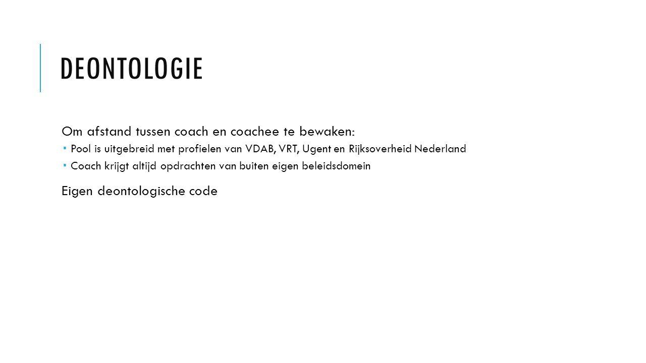 DEONTOLOGIE Om afstand tussen coach en coachee te bewaken:  Pool is uitgebreid met profielen van VDAB, VRT, Ugent en Rijksoverheid Nederland  Coach