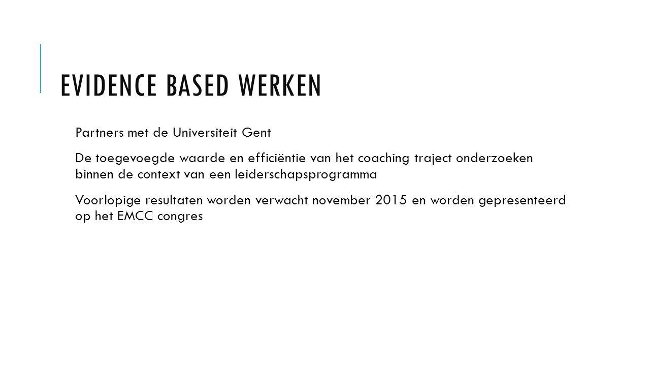 EVIDENCE BASED WERKEN Partners met de Universiteit Gent De toegevoegde waarde en efficiëntie van het coaching traject onderzoeken binnen de context van een leiderschapsprogramma Voorlopige resultaten worden verwacht november 2015 en worden gepresenteerd op het EMCC congres