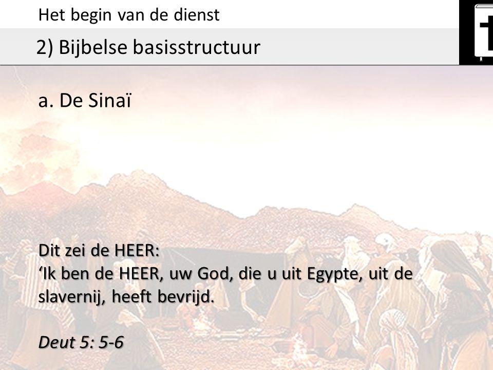 Het begin van de dienst 2) Bijbelse basisstructuur Dit zei de HEER: 'Ik ben de HEER, uw God, die u uit Egypte, uit de slavernij, heeft bevrijd. Deut 5