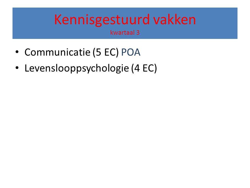 Kennisgestuurd vakken kwartaal 3 Communicatie (5 EC) POA Levenslooppsychologie (4 EC)