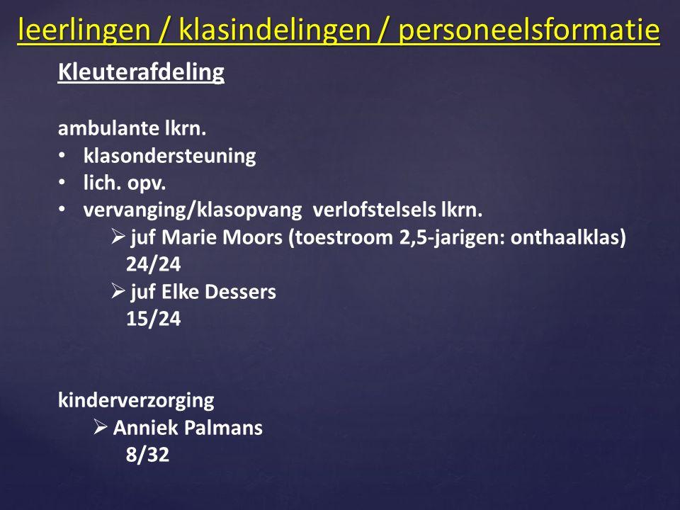 Kleuterafdeling ambulante lkrn. klasondersteuning lich. opv. vervanging/klasopvang verlofstelsels lkrn.  juf Marie Moors (toestroom 2,5-jarigen: onth
