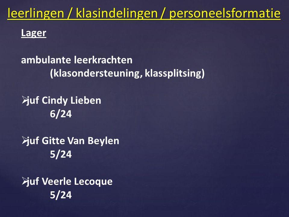 Lager ambulante leerkrachten (klasondersteuning, klassplitsing)  juf Cindy Lieben 6/24  juf Gitte Van Beylen 5/24  juf Veerle Lecoque 5/24 leerlingen / klasindelingen / personeelsformatie