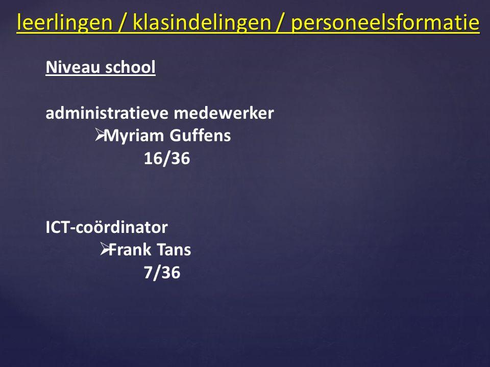 Niveau school administratieve medewerker  Myriam Guffens 16/36 ICT-coördinator  Frank Tans 7/36 leerlingen / klasindelingen / personeelsformatie
