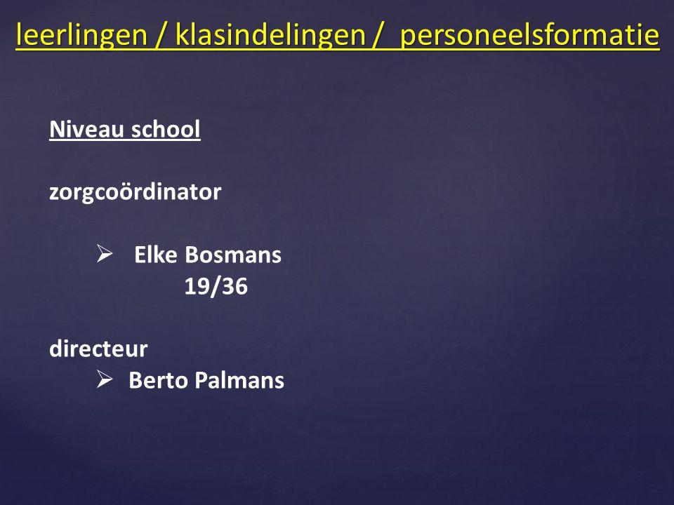 Niveau school zorgcoördinator  Elke Bosmans 19/36 directeur  Berto Palmans leerlingen / klasindelingen / personeelsformatie