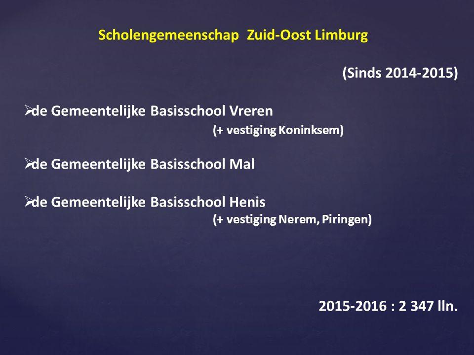 Scholengemeenschap Zuid-Oost Limburg (Sinds 2014-2015)  de Gemeentelijke Basisschool Vreren (+ vestiging Koninksem)  de Gemeentelijke Basisschool Mal  de Gemeentelijke Basisschool Henis (+ vestiging Nerem, Piringen) 2015-2016 : 2 347 lln.