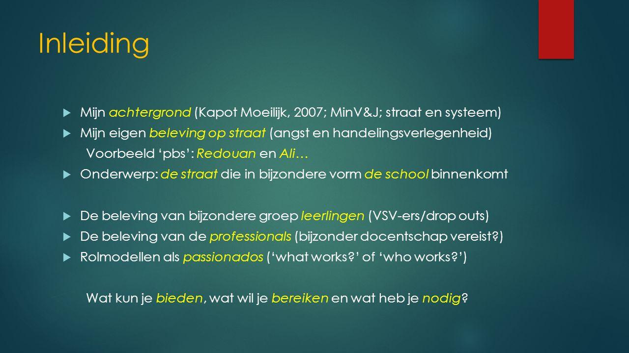 Inleiding  Mijn achtergrond (Kapot Moeilijk, 2007; MinV&J; straat en systeem)  Mijn eigen beleving op straat (angst en handelingsverlegenheid) Voorb