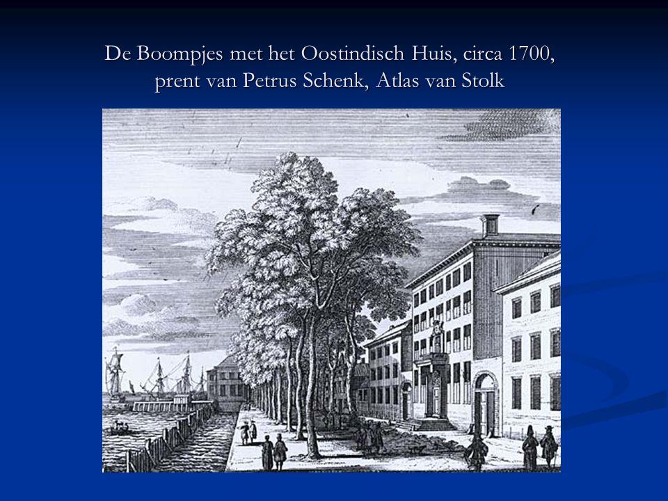 De Boompjes met het Oostindisch Huis, circa 1700, prent van Petrus Schenk, Atlas van Stolk