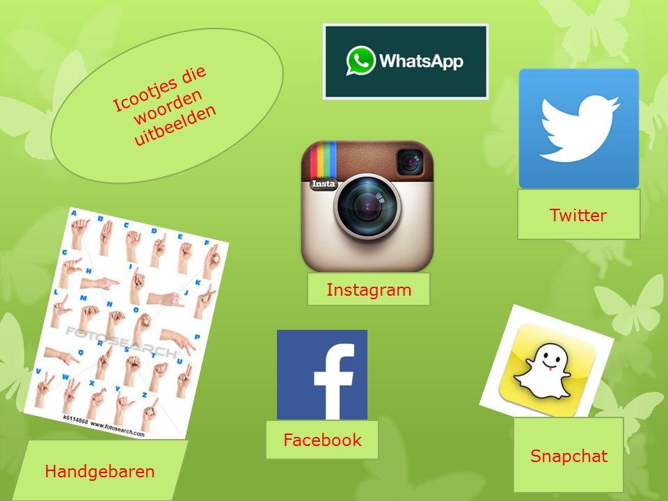 Icootjes die woorden uitbeelden Handgebaren Instagram Snapchat Facebook Twitter