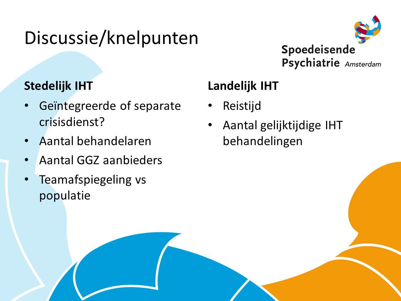 Discussie/knelpunten Stedelijk IHT Geïntegreerde of separate crisisdienst.
