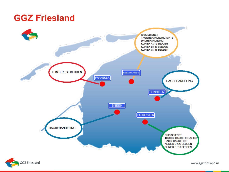 650.000 inwoners, 5.700 km2 Twee IHT teams (13.45 fte en 23.04 fte) Team 1; IHT Noord ( Spits Leeuwarden en KSD Leeuwarden) (40 pt ) Team 2; IHT Zuid (Spits Heerenveen en KSD Sneek, Drachten en Heerenveen) (100 pt) Naast de IHT teams een aparte crisisdienst 2 locaties crisisdienst 2 HIC opname klinieken (Leeuwarden en Heerenveen) In totaal rond de 250 pt in zorg.