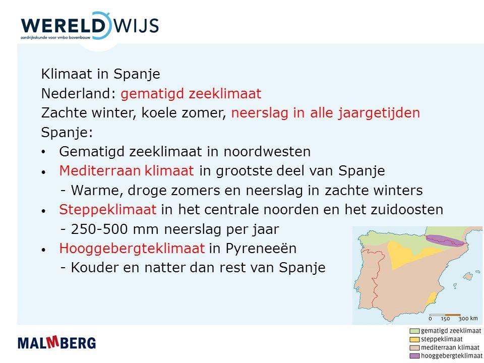 Klimaat in Spanje Nederland: gematigd zeeklimaat Zachte winter, koele zomer, neerslag in alle jaargetijden Spanje: Gematigd zeeklimaat in noordwesten Mediterraan klimaat in grootste deel van Spanje - Warme, droge zomers en neerslag in zachte winters Steppeklimaat in het centrale noorden en het zuidoosten - 250-500 mm neerslag per jaar Hooggebergteklimaat in Pyreneeën - Kouder en natter dan rest van Spanje