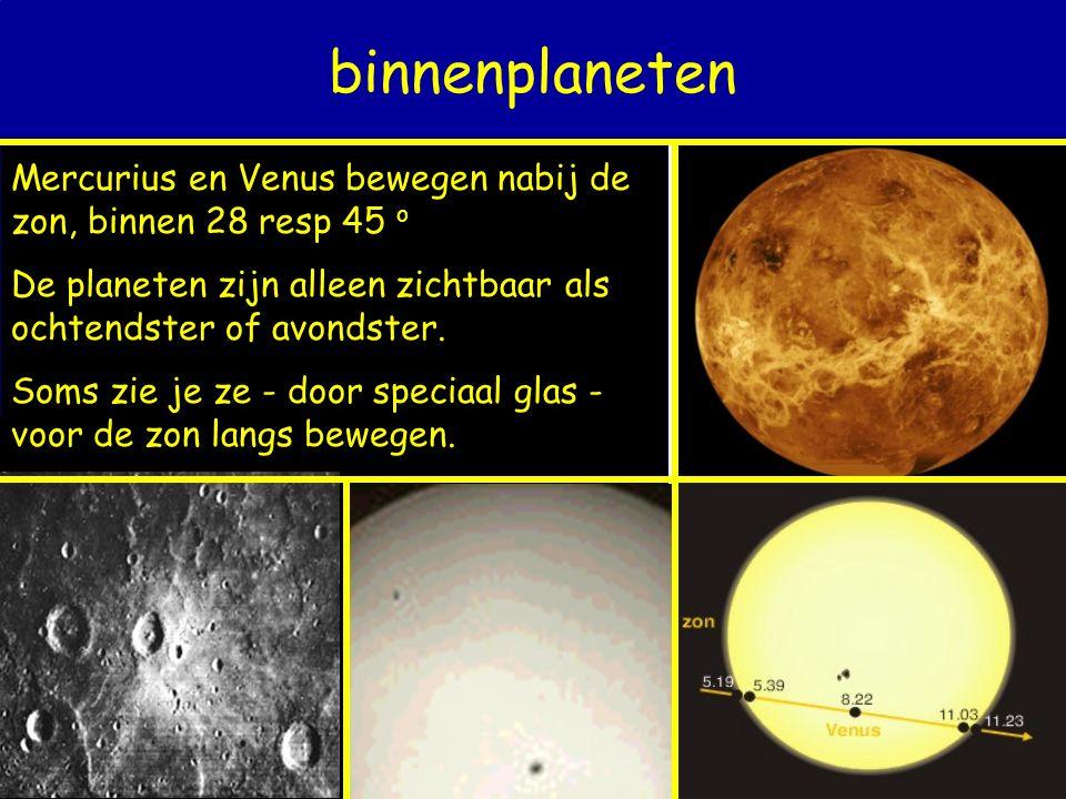 binnenplaneten Mercurius en Venus bewegen nabij de zon, binnen 28 resp 45 o De planeten zijn alleen zichtbaar als ochtendster of avondster. Soms zie j